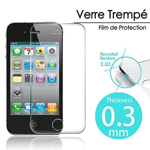 KARYLAX - Protector de pantalla de cristal templado para iPhone 4 y 4S (dureza 9H, transparente