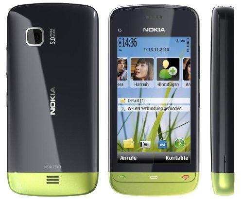 Nokia C5-03 Smartphone Orange  Entriegelt (8.1cm (3.2 Zoll) Touchscreen, 3.5mm Klinkenbuchse, Ovi Karten, GPS) lime green