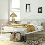 Mr. Kate Primrose Metal Bed with Secured Slats, Headboard and Footboard, Queen Size Frame, White