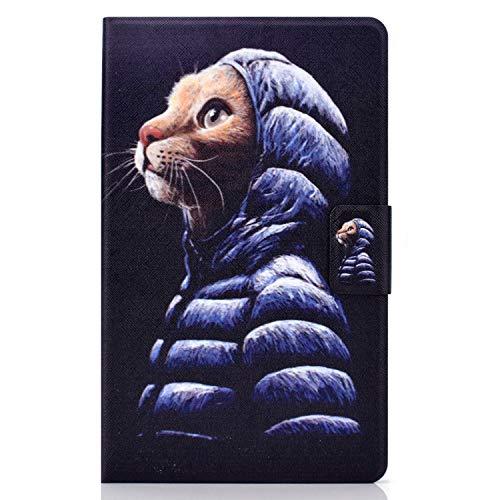 Jajacase Cover per Samsung Galaxy Tab A7 10.4 2020 SM-T500   T505   T507 Tablet - Custodia Case Shell Protettiva con PU in Pelle, Supporto e Multi-View -Wish Cat