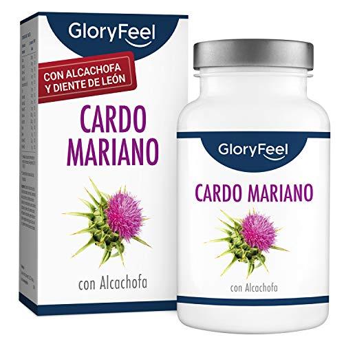 Cardo Mariano (500mg) con Alcachofa (400mg), Diente de León (150mg) y Desmodium (50mg) - Alta dosificación con 80% de Silimarina - Fabricado en Alemania