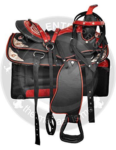Y&Z Enterprises Sillín de caballo occidental sintético de carreras, con caballito + cabezal, collar de pecho de 40,64 cm, color negro