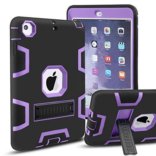 iPad Mini Case, iPad Mini1/ 2/3 Case,MAKEIT CASE 3in 1 Heavy Duty Full-Body Protection Kickstand Combo Hybrid Impact Silicone Hard Case Cover for Ipad Mini 1/2/ 3 (Black/Purple)