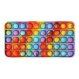 Portalápices portátil con burbujas de aire arcoíris – Juguete de burbuja de silicona Sensorial simple del lápiz (color mármol)