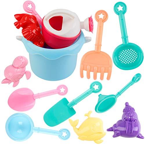Joyibay 12 Stück Sandspielzeug Set Strandspielzeug Sandspielset Strand Sand Spielzeug Set Kreativ Sortiert Sandburg Spielzeug für Kinder Kleinkinder Jungen Mädchen