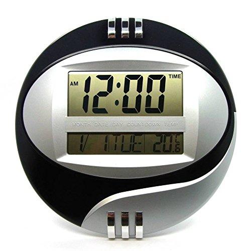 Starlet24 digitale wandklok, DS-3885N, digitale LCD-wandklok, multifunctioneel, met timer, wekker, sluimerkalender, zwart
