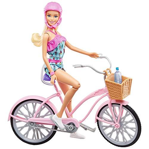 Barbie- Playset con Bicicletta Bambola Snodata con Accessori, Giocattolo per Bambini 3+ Anni, FTV96
