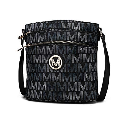 MKF Crossbody Bag for Women – PU Leather Pocketbook Handbag Multi Compartment Messenger Purse – Shoulder Strap Black