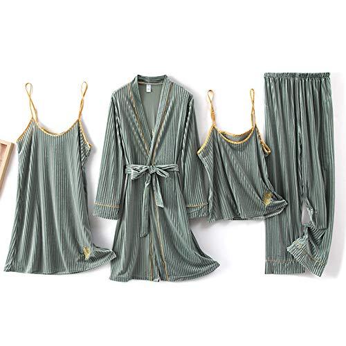 Accappatoio da Donna,Accappatoio da Bagno in Velluto da Donna 4 Set Colore Verde Pisello con Piume Ricamate con Scollo A V Sexy Giapponese Morbido da Notte Leggero Autunno Inverno Caldo Abbigliament