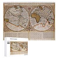 INOV 二重半球 世界地図1587年 ジグソーパズル 木製パズル 500ピース キッズ 学習 認知 玩具 大人 ブレインティー 知育 puzzle (38 x 52 cm)