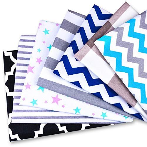 Amazinggirl Lot de 7 tissus en coton au mètre 50 x 80 cm – Tissus à coudre patchwork Lot de tissus Chutes de...