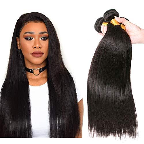 Human Hair Bundles 100% Brazilian Hair Straight Bundles Haartressen Echthaar Weave Menschliche Haare Brasilianische Haare Lange 300g Natural Black 22 24 26 zoll
