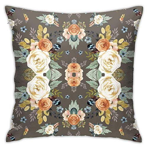 Western Autumn More Florals Taupe Soft Square Throw Pillow Covers Cushion Case 45X45CM