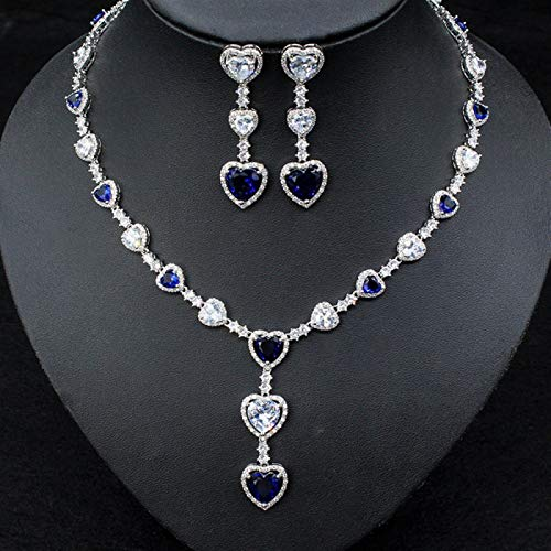 Luxury Heart Love CZ Jewelry Sets For Women Wedding Necklace Earring Set Cubic Zircon Bridal Jewelry ShanDD (Color : Blue)