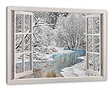 Pixxprint Atemberaubende Winterlandschaft, Fenster