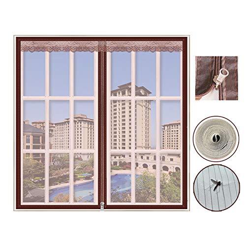 DM&FC Anti Bug Insektenfliege Fliegengitter Fenster Mesh Curtain Mit Reißverschluss,Fliegengitter Fenster Net Mesh,Klettband Selbst-klebstoff Demontage Kaffee 180x180cm/71x71inch