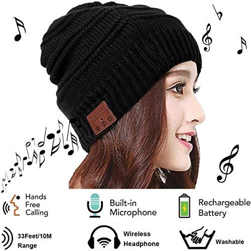 Mystery Bluetooth Beanie Cappello Cappello Musicale con Cuffie Senza Fili, Microfono, Cuffia Esterna Lavabile da Lavoro Invernale Cappello per Uomo/Donna Unisex, Colore Nero, Taglia Unica (A)
