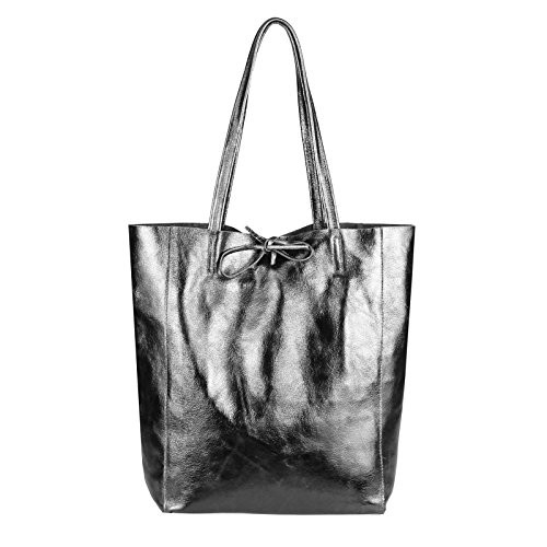 OBC Made in Italy Damen Leder Tasche DIN-A4 Shopper Schultertasche Henkeltasche Tote Bag Metallic Handtasche Umhängetasche Beuteltasche (Antiksilber)