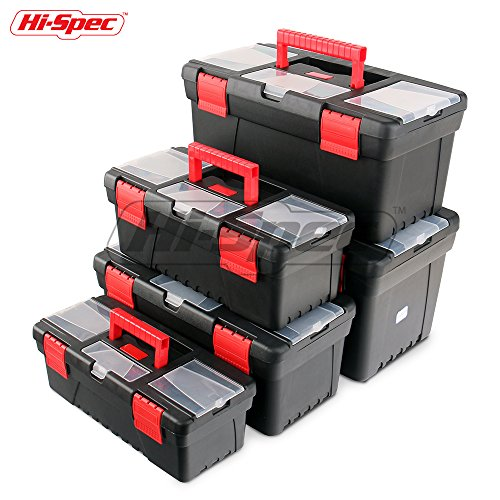 Hi-Spec Portable Tool Box Set with Clear Lids and Removable Trays for DIY and Tools, Fishing Tackle,...