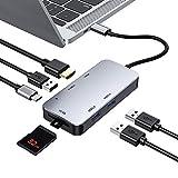 USB C ハブ USB Type C ハブ 7in1 変換 USB3.0 ハブ PD対応 急速充電 4K HDMI出力 高速データ転送 TF/SDカードリーダー USB3.0ポート*3 USB C ドッキングステーション タイプC HDMI 変換 アダプタ USB C ハブ MacBook /MacBook Air/MacBook Pro/ Surface GO/ Chromebook/ Samsung Galaxy Tab Pro/ HP Spectre/ Huawei Matebookなどに対応 グレー
