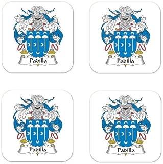 Padilla Family Crest Square Coasters Coat of Arms Coasters - Set of 4