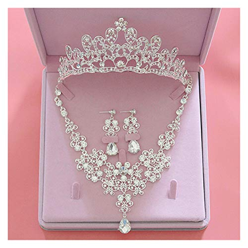 LPZW Fashion Crystal Wedding Bridal Jewelry Sets Women Bride Tiara Crowns Earring Necklace Wedding Jewelry Accessories (Metal color : Style C 3Pcs Set)