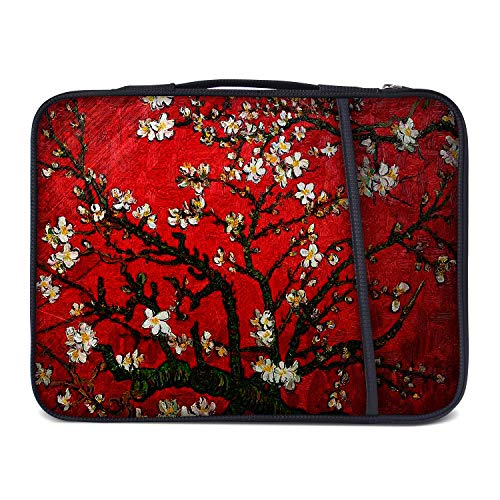 Meffort Inc 15 Inch Neoprene Laptop Sleeve Case Briefcase Cover Protective Bag with Side Pocket for 14 to 15.6 Inch Size Notebook Computer - Cherry Blossoming