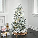 Flocked Pop Up Christmas Tree - 4Ft, Collapsible for Easy Storage, Prelit Pine with 100 LED Lights, 50 Holiday Ornaments and Burlap Tree Skirt Included, White and Silver Christmas Decorations
