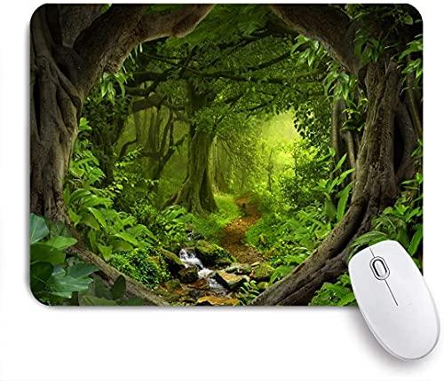 Alfombrilla de ratón para juegosalfombrilla de ratón Micro-Tejida, Selva Bosque Tierra de sueños Cascada Camino de Tierra Sendero Árboles Viejos Fiesta de Safari Salvaje de Primavera