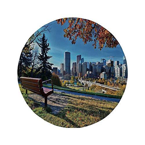 """Rutschfreies Gummi-rundes Mauspad Stadt Parkbank mit Blick auf die Skyline von Calgary Alberta im Herbst Ruhig Urban mehrfarbig 7.9\""""x7.9\""""x3MM"""