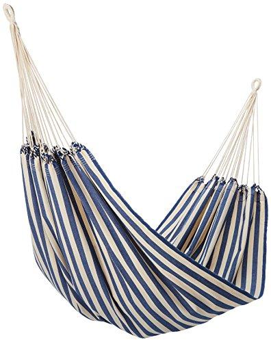 NOVICA Navy Blue White Striped Cotton Fabric 1 Person Brazilian Style Hammock,