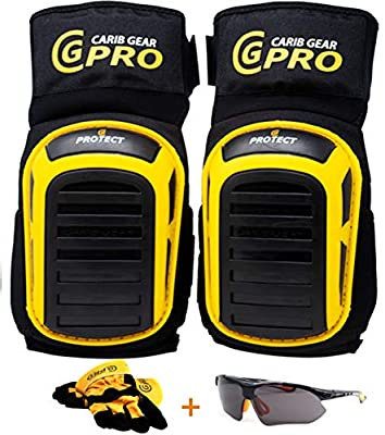 Knee Pads For Work-Heavy Duty Pad Design For Construction Tiling Gardening Flooring install Extra Gel and Cushion Support Long Kneeling Anti-Slip Stretchable Thigh Straps Bonus:Safety Glasses & Gloves