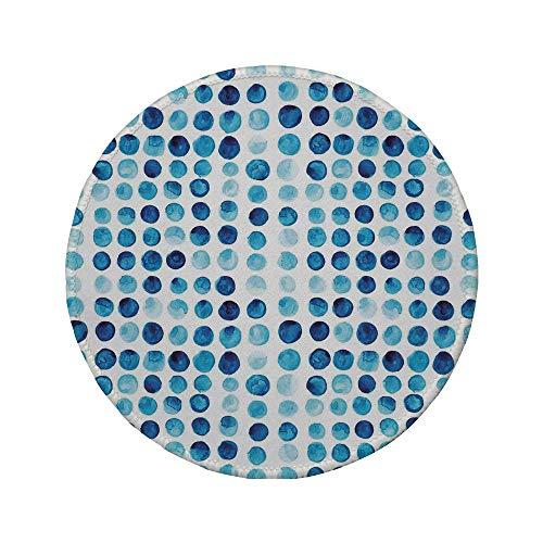 Rutschfeste Gummi-Runde Mauspad blau Retro handgezeichnete Kreise Runden Farbe Zellen bemalt Blase wie Grunge-Stil Fliese blau hellblau 7,9 'x 7,9' x3MM