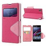 NessKa Funda para Sony Xperia X Performance (F8131) | Funda para teléfono móvil con tarjetero y ventana de visión, función atril, cierre magnético, funda tipo libro, color rosa