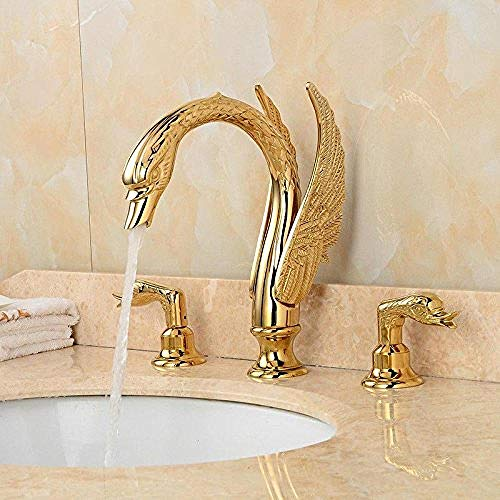 The Sink Faucet Bronze Basin-Wide Water Faucet Golden Swan and Cold Water Faucet Bathroom Basin Mixer Taps Easy to Clean Sink Faucet