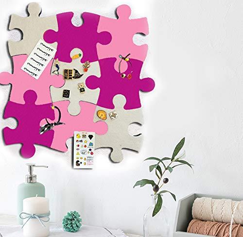 Filz-Pinnwand aus Kork, 9 Stück, Wand-Puzzle-Form, Pinnwand, selbstklebend, für Fotos, Memos, Anzeigetafel, Bilder, Zeichnungen, Ziele, Notizen, bunte Schaumstoff-Wanddekoration