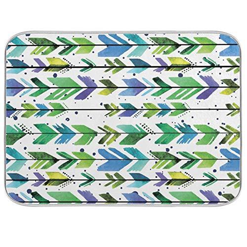 Ghypt - Escurridor de secado de platos con flechas de cocina, patrón bohemio, absorbente, de microfibra, antideslizante, secado rápido, lavable, para el hogar, 45,7 x 60,9 cm