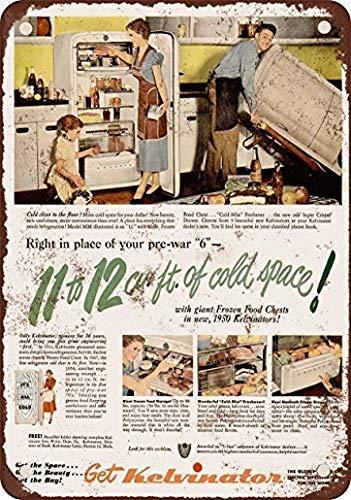1950 Kelvinator Frigoriferi Vintage Look Riproduzione e Decorazione da Parete Targa in Metallo 12X16 Pollici