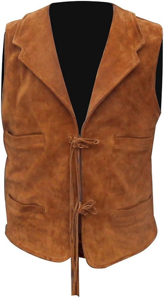 coolhides Men's Indian Cowboy Leather Vest Simple