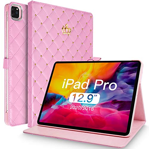 "Topwin iPad Pro 12.9 Case 2020 & 2018 Case, Crown Design Bling Diamond Cute PU Leather Smart Auto Sleep/Wake Shockproof Case for iPad Pro 12.9"" 4th Gen 2020 / iPad Pro 12.9"" 3rd Gen 2018 (Pink)"
