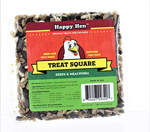 (Case of 6) Happy Hen Treats 6-Ounce. Square-Mealworm and Seed, 4.25 x 4.25 x 1.25 Inches