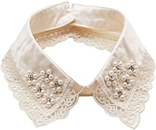 Detachable Blouse False Collar Pearl Rhinestone Embroidered Flower Fake Collar Choker Peter Pan Necklace