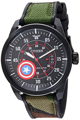 Citizen Eco-Drive Marvel Quartz Mens Watch, Stainless Steel with Nylon strap, Captain America, Camouflage (Model: AW1367-05W)