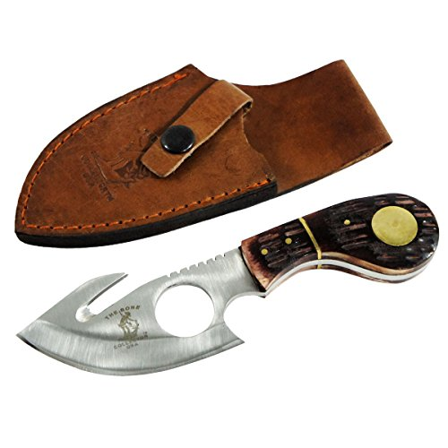 """Bone Collector Knife BC-794 Fixed Blade Skinning Knife with Leather Sheath, 7"""" L"""