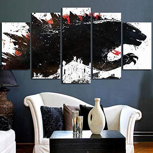 MOXIGE 5 Piezas Cuadro/Decoracion Salon/Lienzos Decorativos Salon/Cuadros Modernos Baratos Decorativos Modernos para Sala Godzilla Pintado De Tinta Negra Película-150 x 80 cm