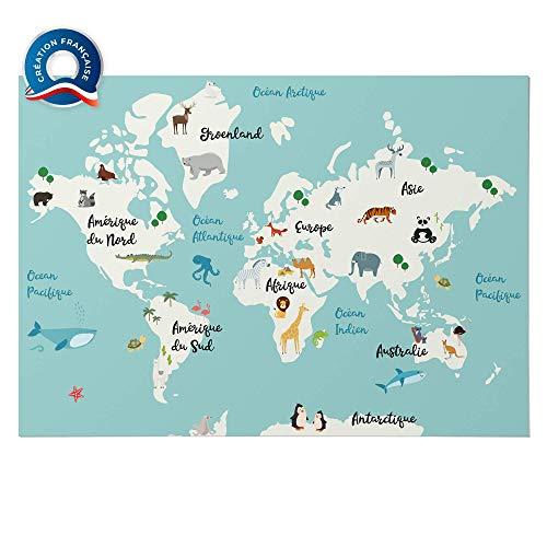 ELWEN Poster XXL Planisphère Map Monde Carte du Monde Enfant,Carte du Monde en français avec Animaux,décoration Murale Chambre Enfant bébé,Carte Murale Scolaire, Cadeau éducatif,A2 Impression 350g