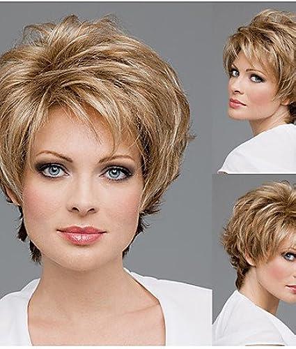 WIGSTYLE Perruques mode courts perruques synthétiques de cheveux droites pour les femmes coupe de lutin perruques naturelles avec une frange