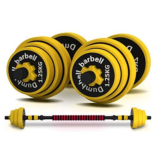 Mancuernas para exteriores con mancuernas ajustables de peso, mancuernas de hierro, para el hogar, equipo de fitness para los atletas de todos los niveles (color: amarillo, tamaño: 20 kg)