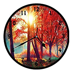 BCWAYGOD Tree, Autumnal Foggy Park Fall Nature Scenic Scenery Maple Trees Sunbeams Woods,Wall Clock Nice for Gift or Office Home Unique Decorative Clock Wall Decor 12in with Frame, Orange Yellow Teal
