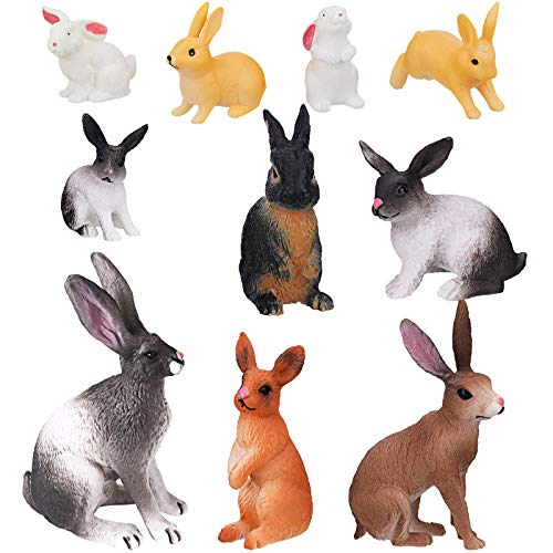 Sumind 10 Pieces Rabbit Toy Figure  Mini Bunny Toy Figure  Realistic Animal Toys 3D Playset  Farm Animal Toy Rabbit Figures  Variety Cake Toppers  Easter Present for Girl and Boy